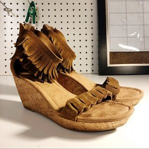 Minnetonka Nicki Cork Wedge Women's Suede Sandals